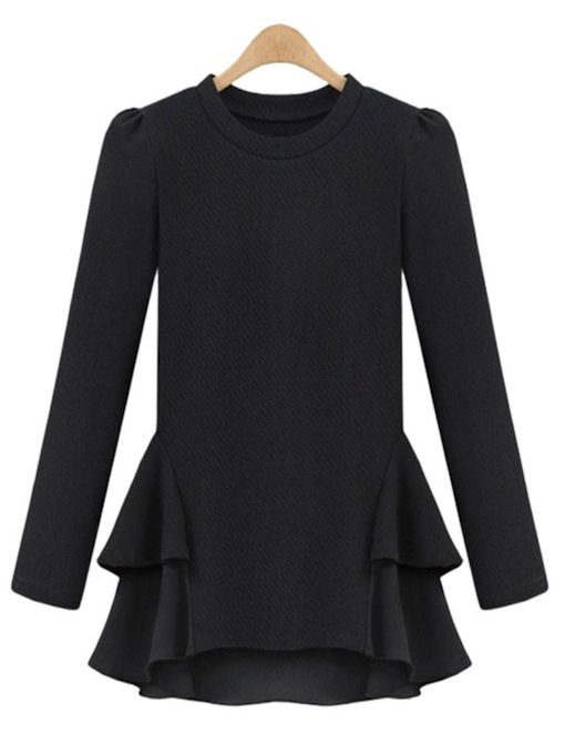 Plain Black Plus Size Peplum T-Shirt Women's Tunic