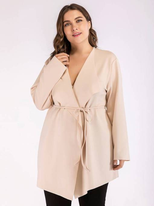 Plus Size Asymmetric Plain Lapel Lace-Up Trench Coat