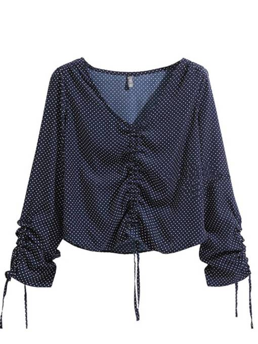 Plus Size Polka Dot Ruched Lace Up V-Neck Women's Blouse