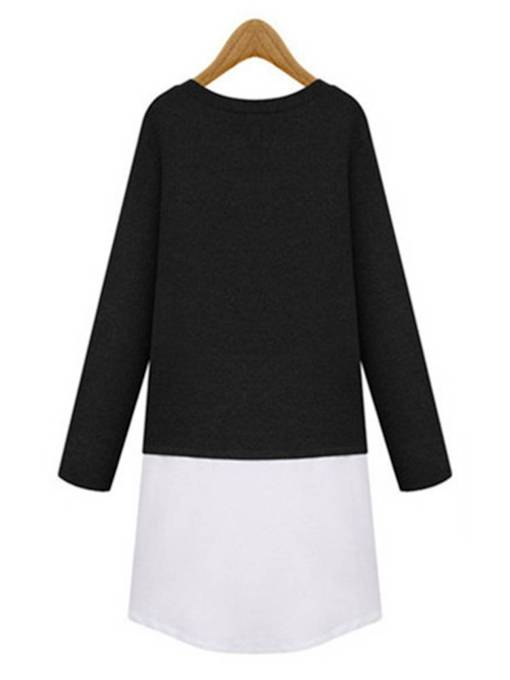Patchwork Straight Women's Long Sleeve Dress