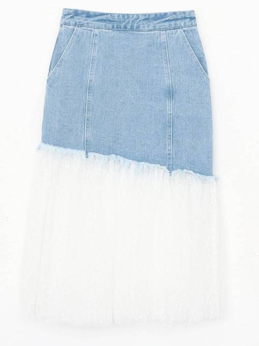 Mesh Patchwork Denim Bodycon Women's Mini Skirt