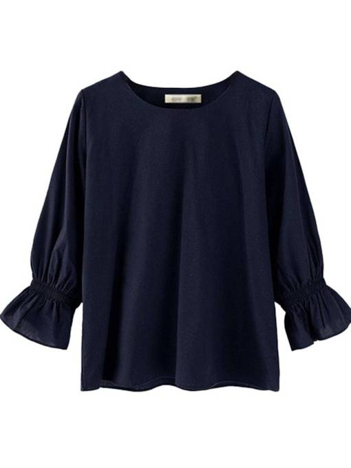 Flare Sleeve Scoop Neck Pure Color Women's Blouse