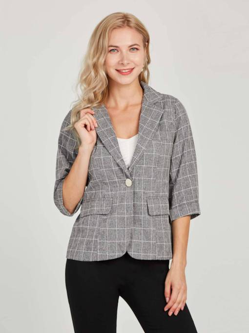 Plaid Notched Lapel Dual Pocket Women's Blazer