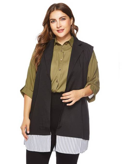 Plus Size Color Block Notch Neck Sleeveless Women's Vest