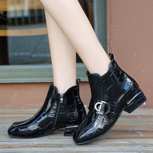 Round Toe Side Zipper Block Heel Buckle Women's Ankle Boots