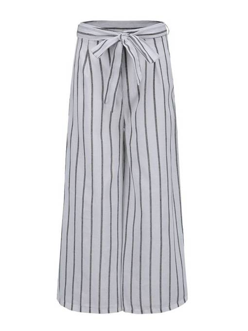 Striped High Waist Wide Legs Women's Cropped Pants