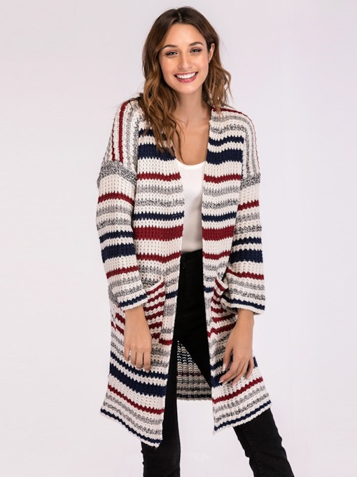 Wide Pocket Stripe Color Block Open Front Women's Sweater Coat