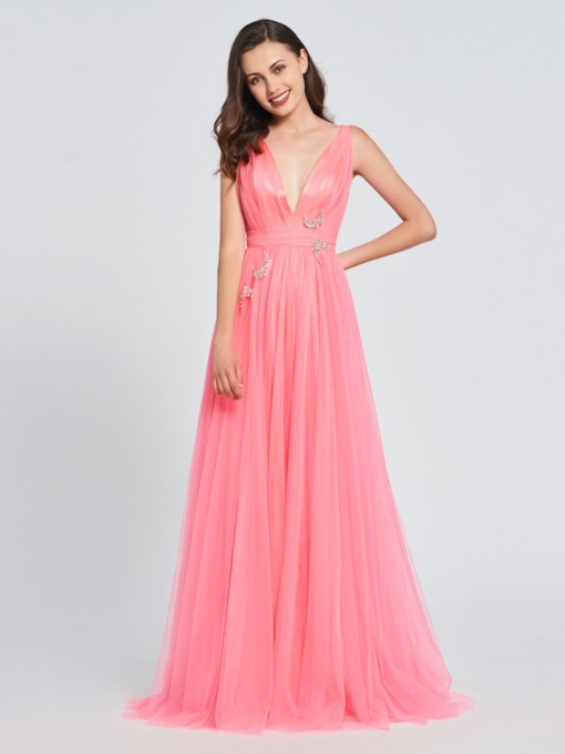A-Line V-Neck Beading Pleats Prom Dress