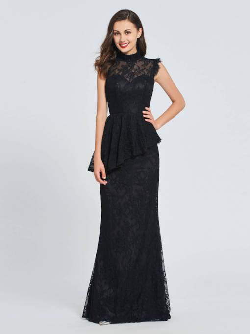 Trumpet Lace Button High Neck Evening Dress