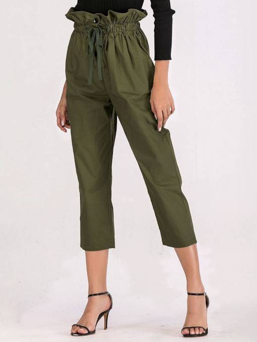 Frill Waist Self Belted Women's Casual Pants