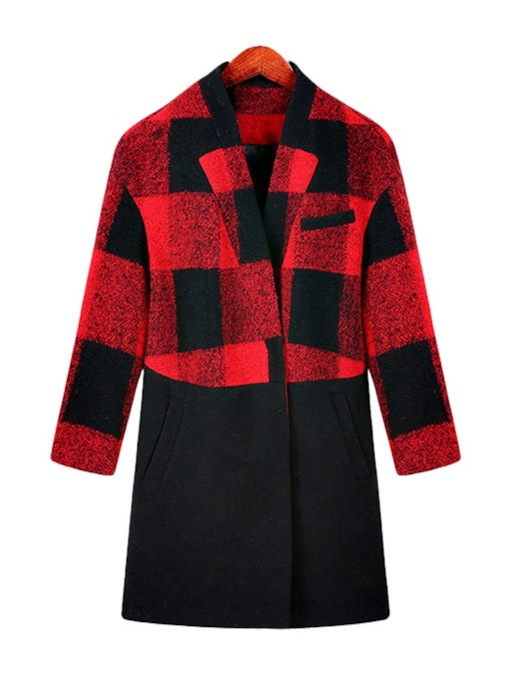 Plus Size Color Block Plaid Plus Size Hidden Button Women's Overcoat