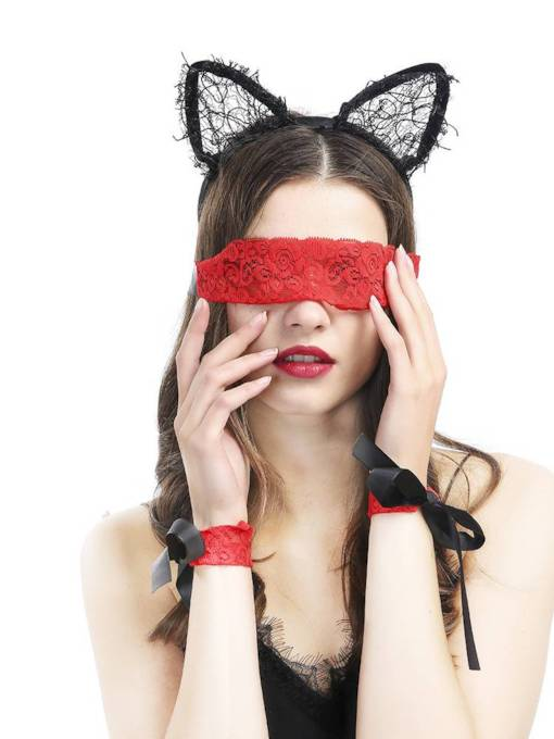 Lace Blindfold Handcuffs Sexy Accessories 3 Pieces