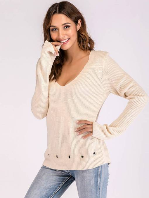 Plain Loose Fit Solid Color Women's Sweater
