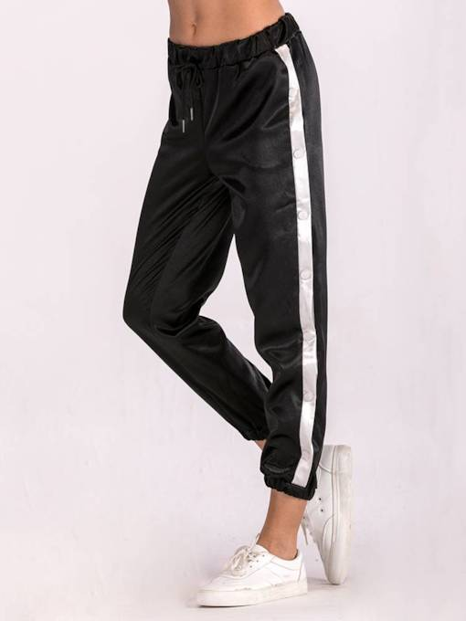Color Block Tape Drawstring Women's Harem Pants
