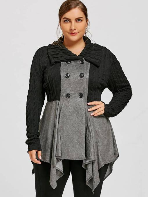 Asymmetric Plus Size Double-Breasted Lapel Women's Jacket