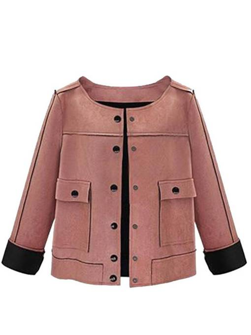 Stylish Single-Breasted Short Double-Pocket Women's Jacket