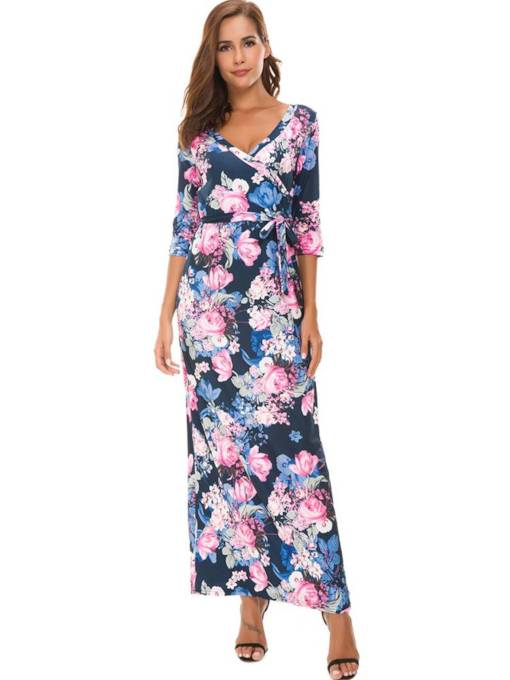 3/4 Length Sleeves Floral Women's Maxi Dress