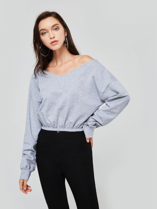 Off Shoulder Ruched Solid Color Women's Cropped T-Shirt
