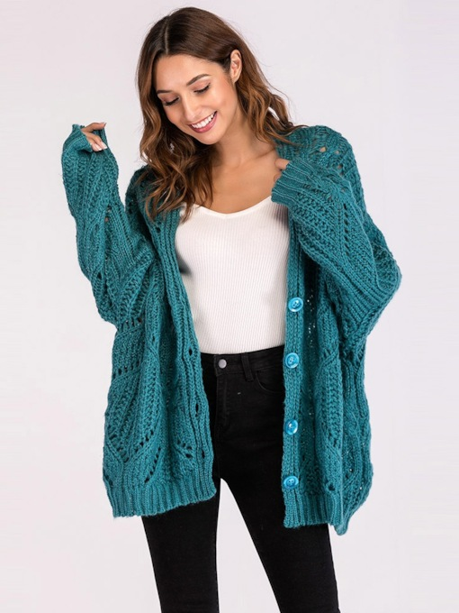 Loose Fit Single-Breasted Women's Sweater Coat