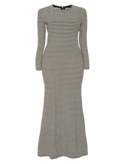 Plus Size Stripe Long Sleeve Women's Maxi Dress