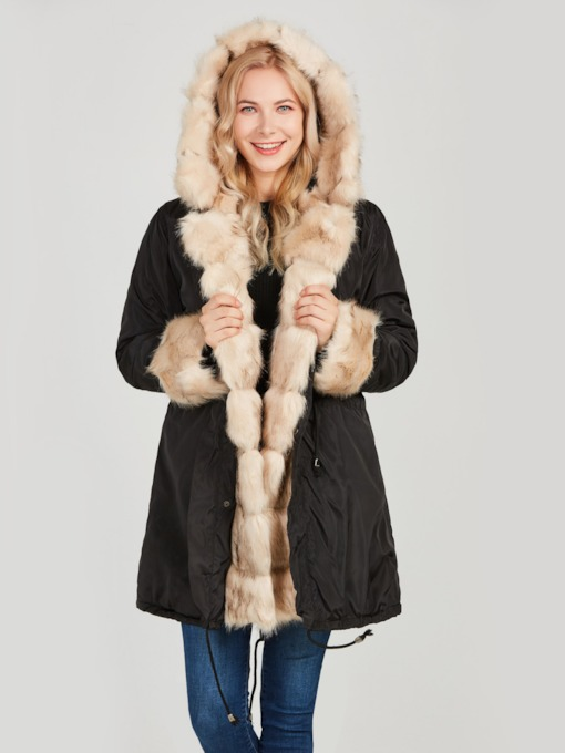 Damen Winterparka Pelzmantel Casual Luxury-Mantel Plus Size