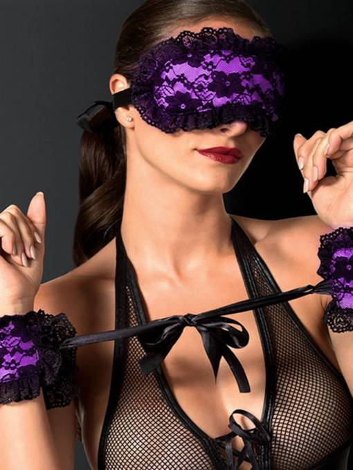Lace Sexy Blindfold and Wrist Restraints Handcuffs 3 Pieces