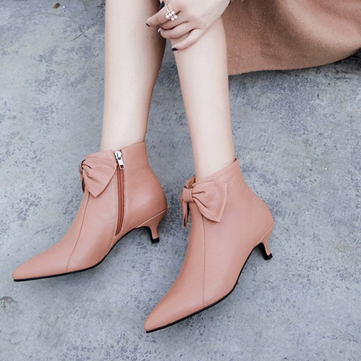 Kitten Heel Pointed Toe Bowknot Customized Women's Ankle Boots