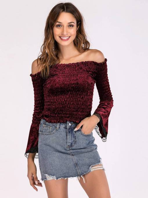 Ruched Lace Patchwork Flare Sleeve Off Shoulder Women's T-Shirt