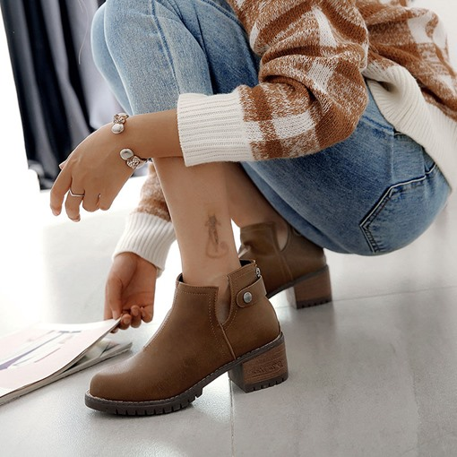 Round Toe Slip-On Block Heel Sewing Casual Women's Ankle Boots