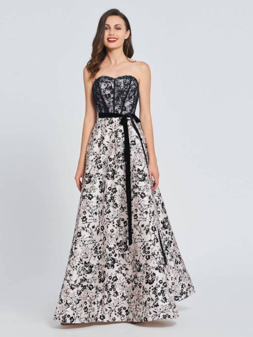 A-Line Sweetheart Bowknot Lace Printed Prom Dress