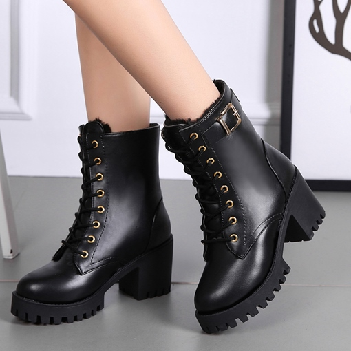 Round Toe Chunky Heel Lace-Up Front Casual Martin Boots for Women
