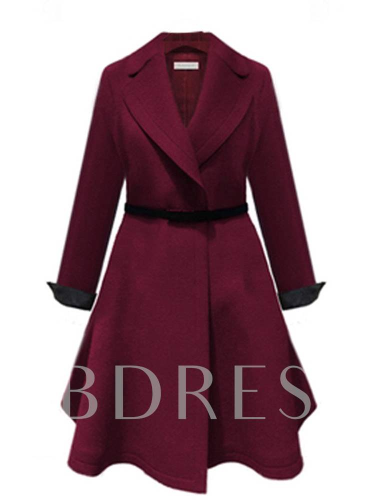 Buy Elegant Plus Size A-Line Notched Lapel Belt Women's Overcoat, Spring,Fall, 13393723 for $31.25 in TBDress store
