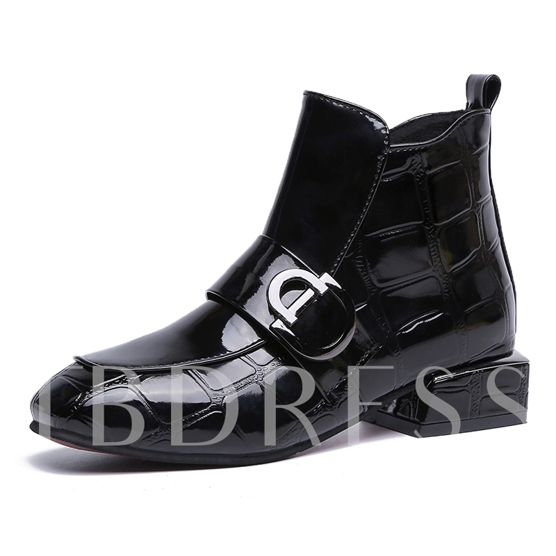 Buy Round Toe Side Zipper Block Heel Buckle Women's Ankle Boots, Spring,Fall,Winter, 13394495 for $42.76 in TBDress store