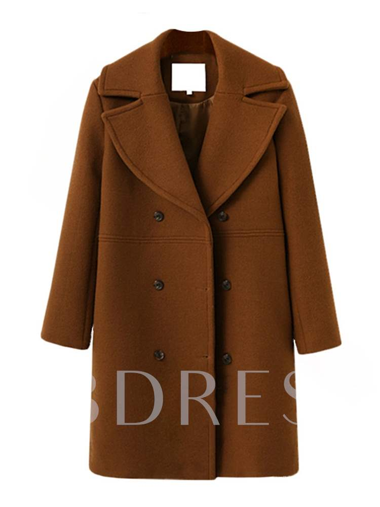 Double-Breasted Notched Lapel Mid Length Women's Overcoat, Fall,Winter, 13393698