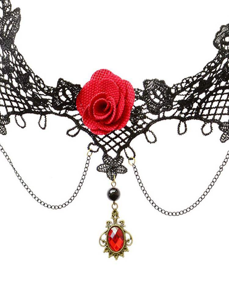 Sexy Accessories Rose Clavicle Pendant Necklace