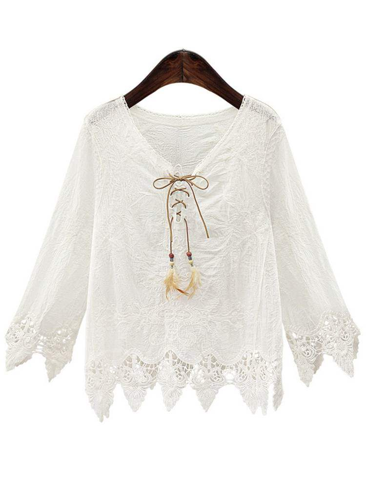 Buy Asymmetric Lace Patchwork Lace Up Women's Blouse, Spring,Fall, 13393712 for $15.44 in TBDress store