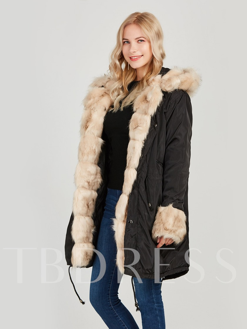 Faux Fur Hooded Plain Long Women's Overcoat