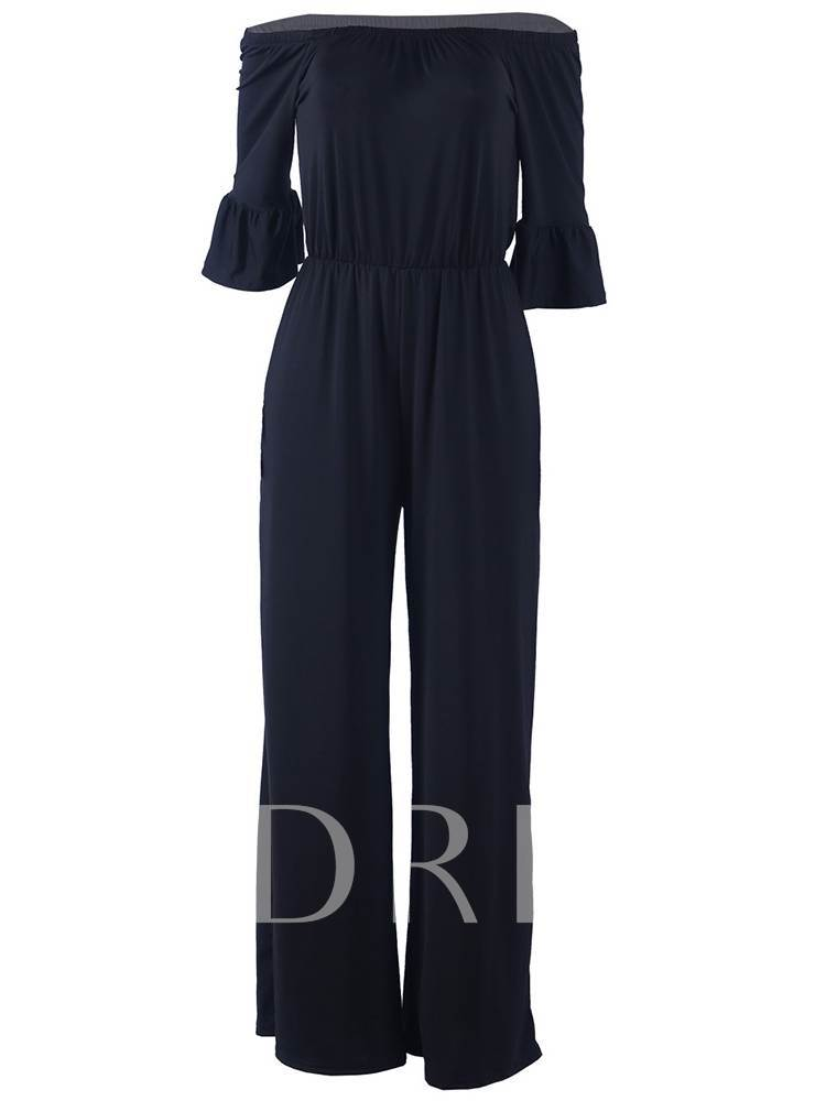 Casual Off Shoulder Wide Legs Women's Jumpsuit