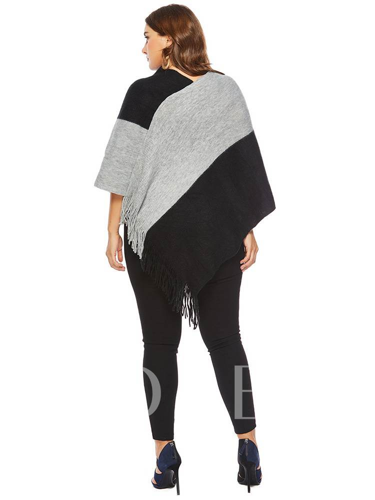 Tassel Color Block Frilled Women's Knitted Cape