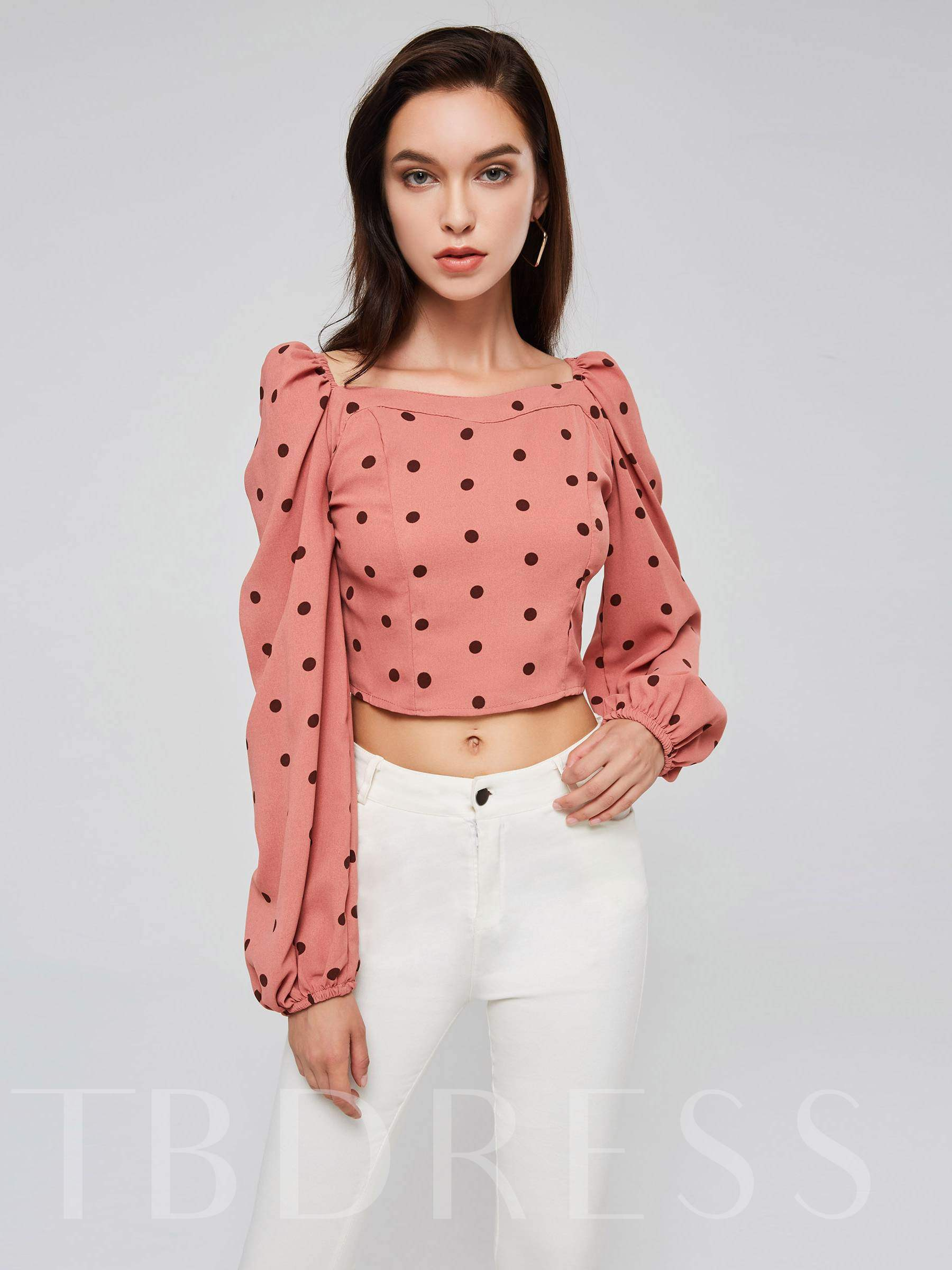 Buy Plain Polka Dots Square Neck Puff Sleeve Women's Blouse, Spring,Summer,Fall, 13397011 for $9.56 in TBDress store