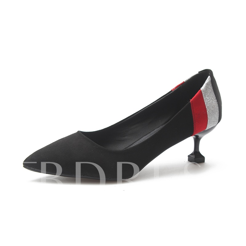 Buy Suede Stiletto Heel Color Block Pointed Toe Chic Women's Pumps, Spring,Summer,Fall, 13394460 for $34.04 in TBDress store