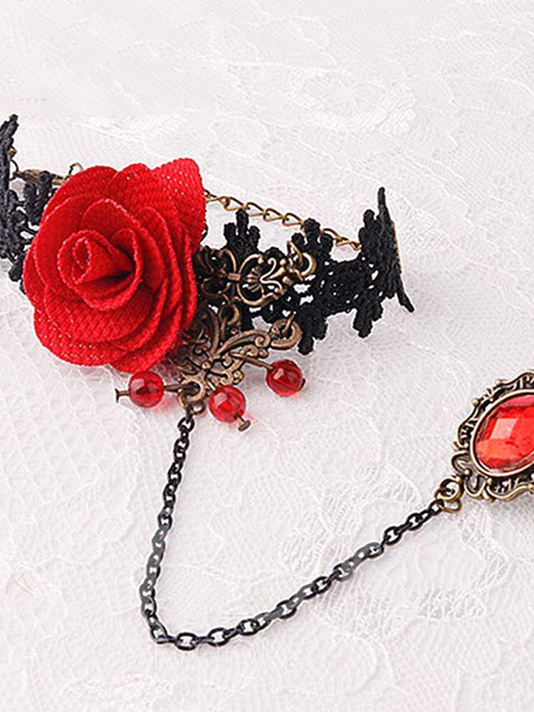 Sexy Accessories Rose Bracelet with Crystal Ring