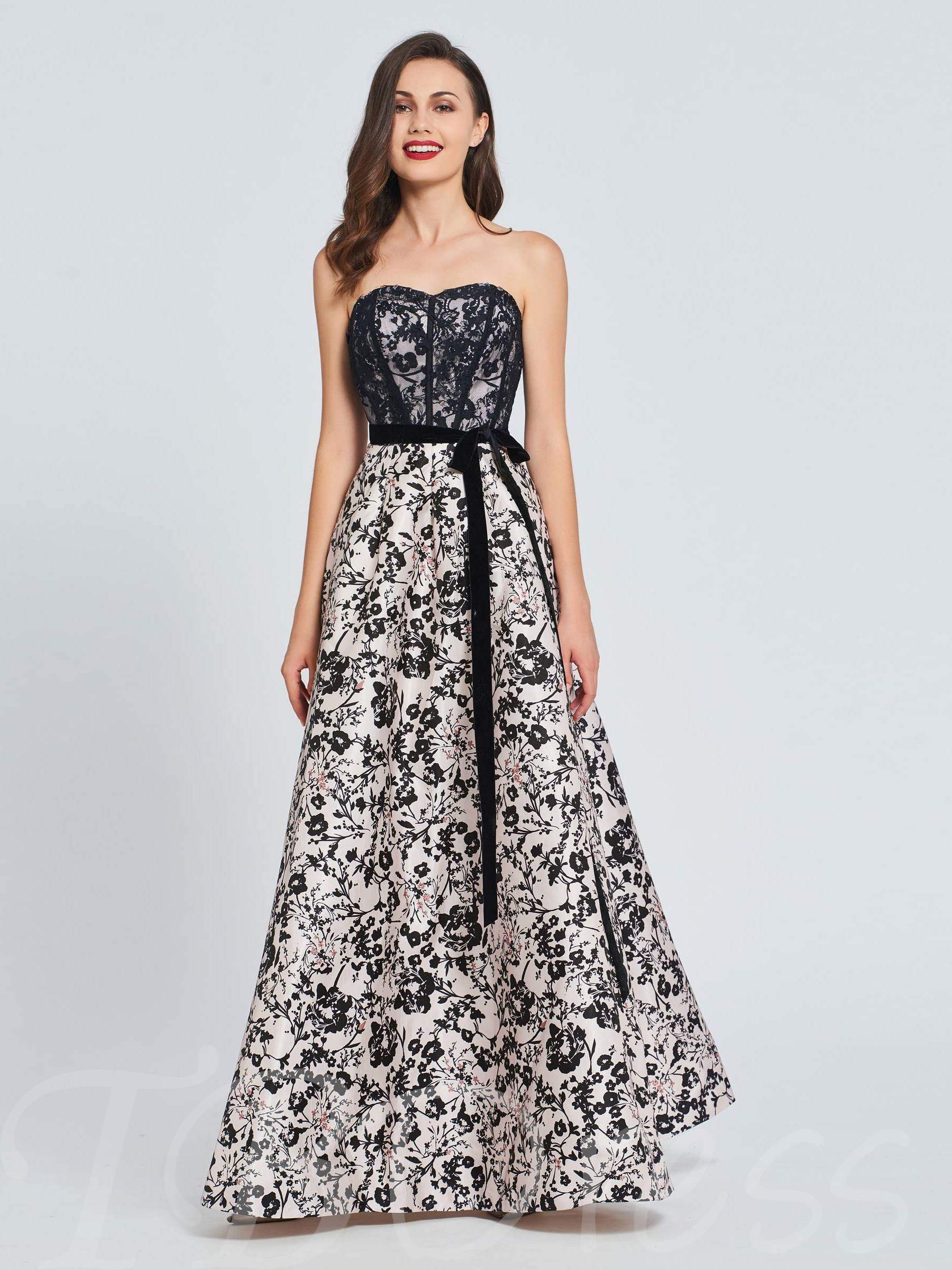 Buy A-Line Sweetheart Bowknot Lace Printed Prom Dress, Spring,Summer,Fall,Winter, 13393554 for $144.36 in TBDress store