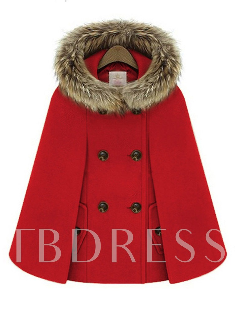 Buy Faux Fur Patchwork Double-Breasted Women's Cape Overcoat, Fall,Winter, 13393700 for $29.41 in TBDress store