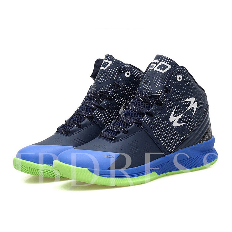Patchwork Color Block Round Toe Lace-Up High Top Men's Trainers
