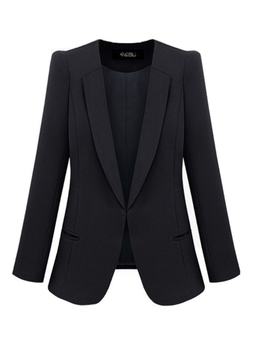 Notched Lapel Slim Fit Open Front Women's Blazer