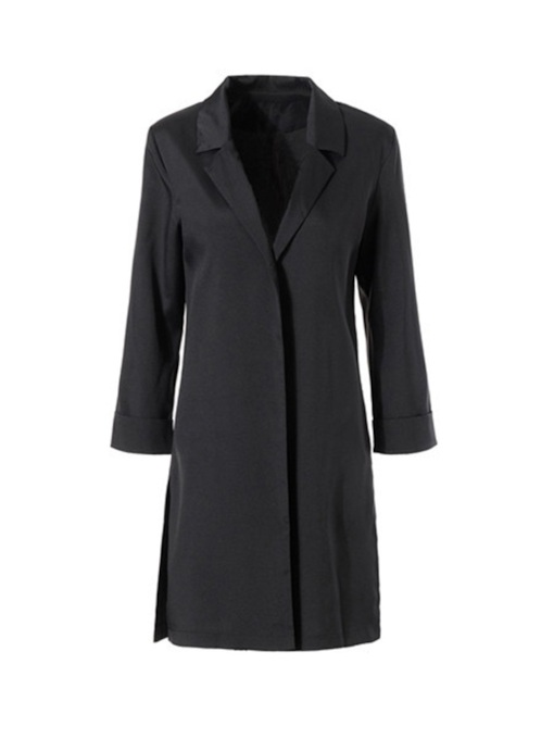Straight Mid Length Notched Lapel Women's Trench Coat