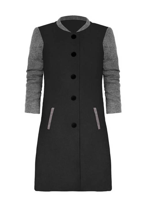 Single-Breasted Dual Pocket Stand Collar Women's Overcoat