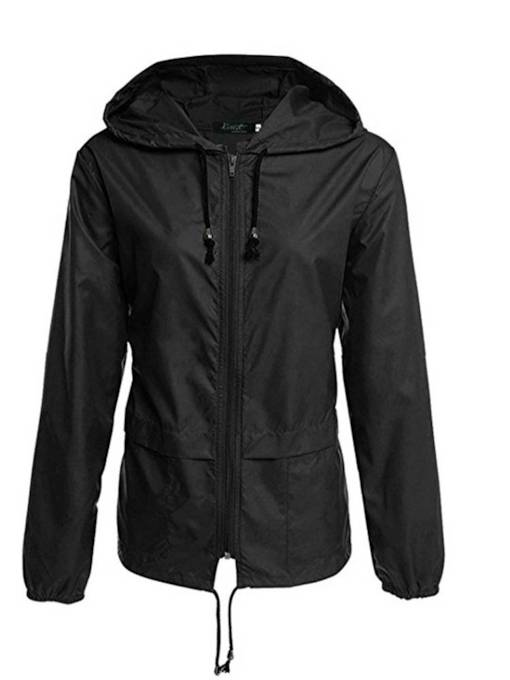 Plain Solid Color Lightweight Zipper Up Women's Jacket