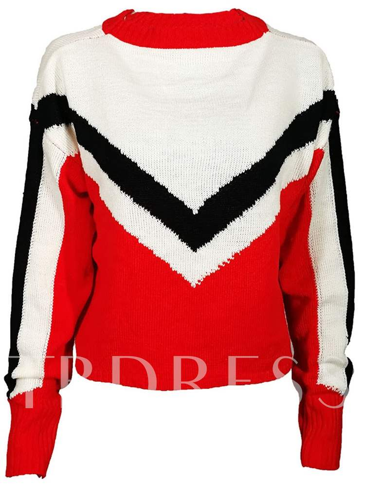 Buy Triple Color Block Loose Fit Long Sleeve Women's Sweater, Spring,Fall,Winter, 13394788 for $20.88 in TBDress store